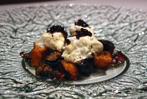 "Those are balsamic ""caviar'' beads crowning that burrata and butternut squash."