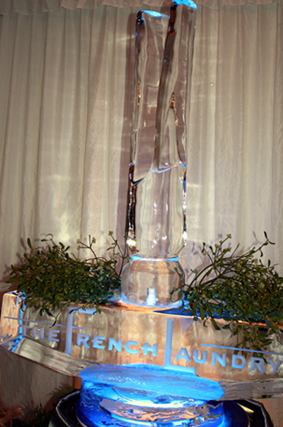 A giant clothespin ice sculpture greeted guests on Sunday at the French Laundry holiday party.