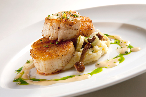 Sea scallops at the new Meritage in the Claremont Hotel. (Photo courtesy of John Benson)