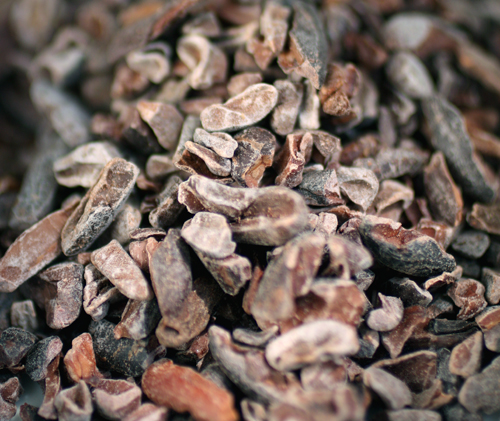 Up close and personal with cocoa nibs.