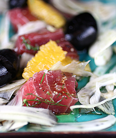 Ahi combines with fennel, olives, oranges, and olive brine for incredible results.