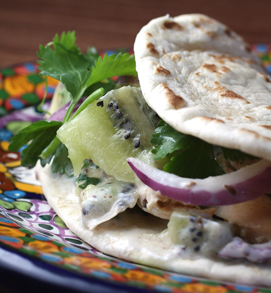 Kiwi is the secret ingredient in this tasty flatbread wrap.