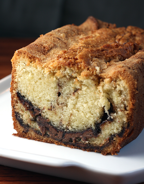 Pound cake with a big swirl of lovely Nutella.