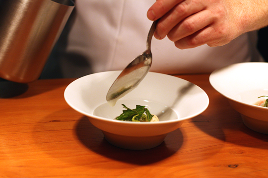 A dish before it goes out to the dining room.