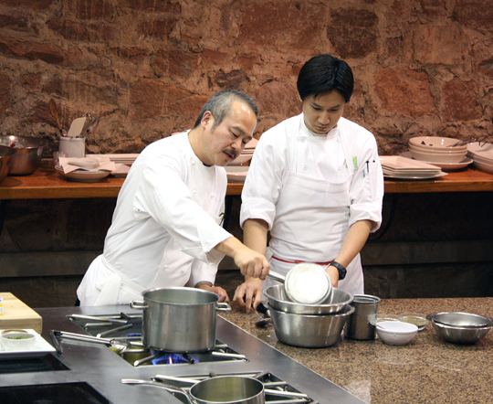 Chef Hiro Sone of Terra in St. Helena demonstrates a capellini dish with sea urchin sauce.