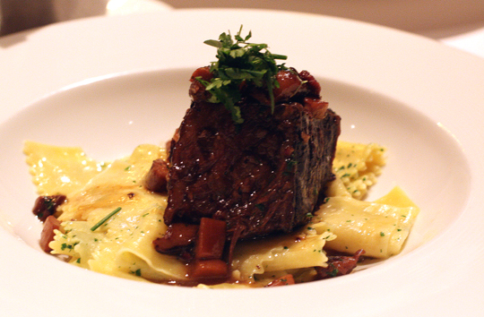 Hearty beef bourgiugnon on egg noodles.