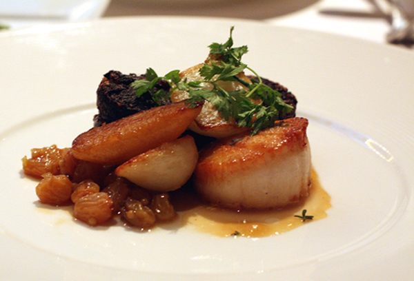 Diver scallop with blood sausage at Cafe des Amis.