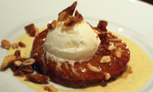 Caramelized bananas on a puff pastry tart.