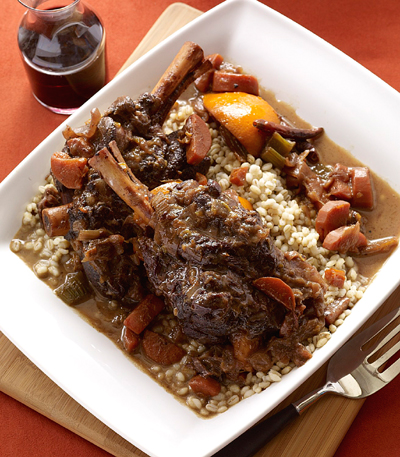 "Orange-ginger lamb shanks with barley from ""Simply Ming One-Pot Meals.'' (Photo by Antonis Achilleos)"