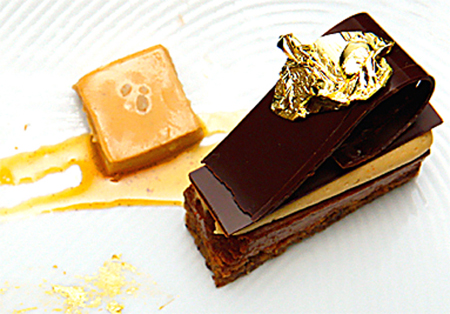 For one of the challenges, Pura created this elegant hazelnut dacquoise with milk jam and salted caramel ice cream. (Photo courtesy of Bravo TV)
