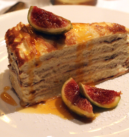 The famous crepe cake at Cafe des Amis.