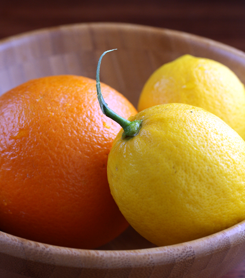 All it takes is two Meyer lemons, one orange, some sugar and some corn syrup.