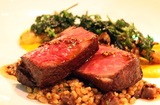 Wagyu steak with farro accented with bits of oxtail.