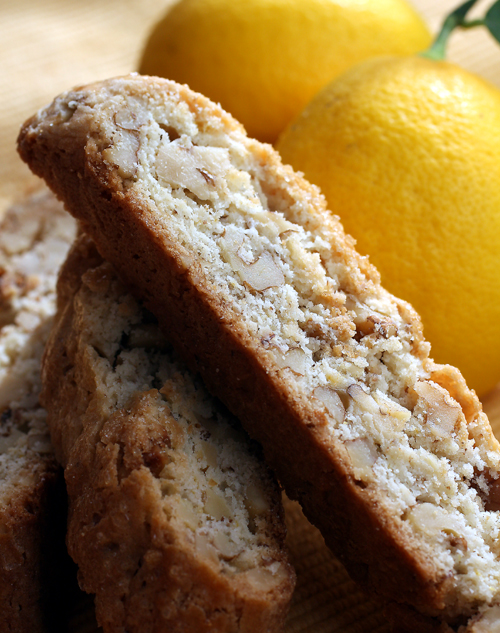 Biscotti abundant with walnuts, lemon zest and lemon juice.