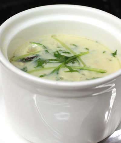 Delicate, smooth egg custard steamed with chicken and enoki.