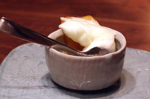 The dessert medley begins with candied apple with frozen yogurt.