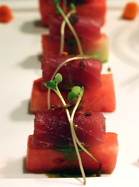 Ahi tuna atop pickled watermelon at All Spice.