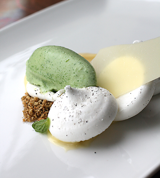 An  elegant Earl Grey pavlova with mint ice cream. (Photo by Carolyn Jung)