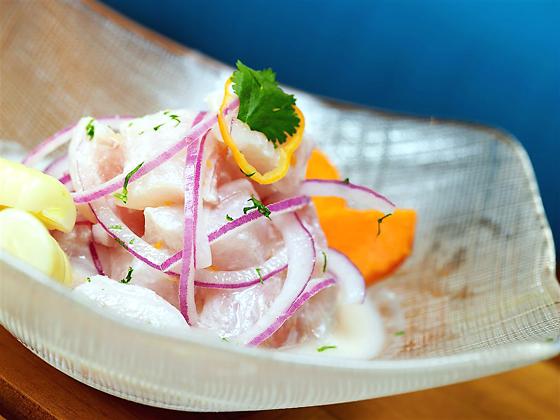 La Mar cebiche clasico made with halibut, habanero, and Peruvian corn and yam. (Photo courtesy of La Mar)