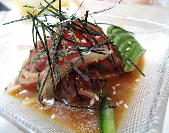 Cebiche Nikei with ahi, Japanese cucumber, daikon, nori, sesame and tamarind. (Photo courtesy of La Mar)