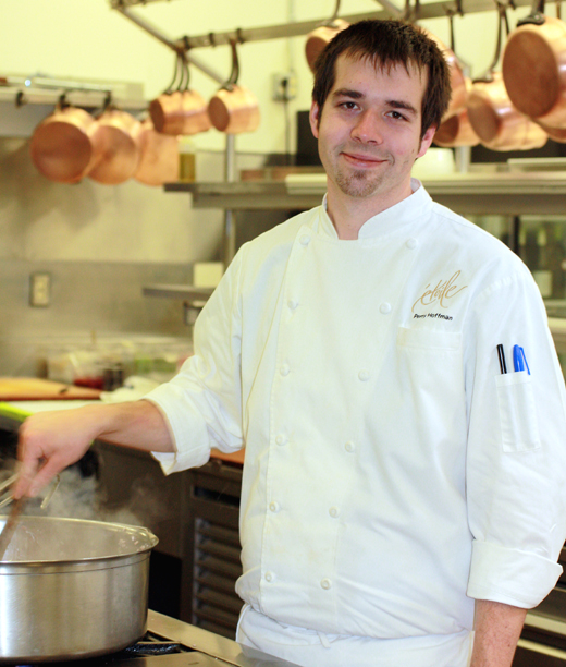 Chef Perry Hoffman in the kitchen at Etoile.