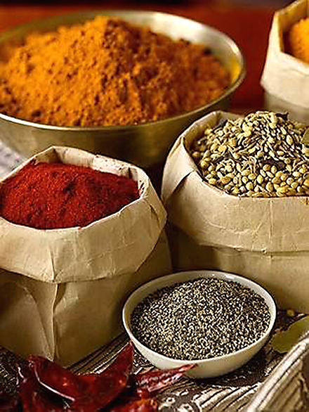 A myriad of spices go into Saran's cooking. (Photo by Ben Fink)