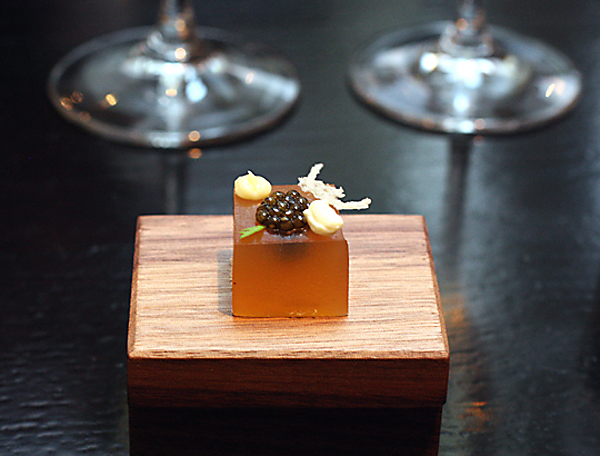 """Caviar atop """"brioche.'' One of the many astounding morsels at Benu."""
