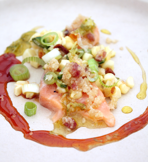 Fabio Viviani's salmon dish -- made with Red Bull.