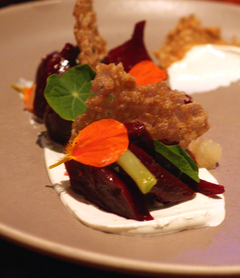 The restaurant makes great use of super fresh veggies like these beets with licorice yogurt.