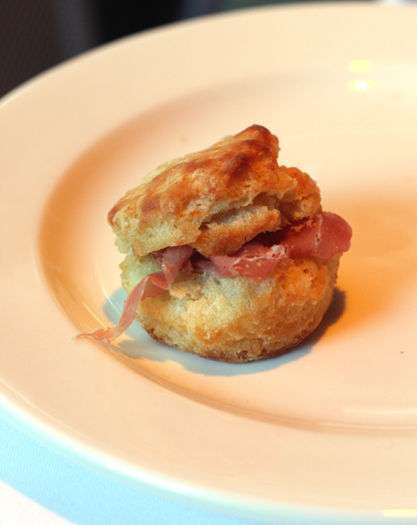 Irresistible biscuits stuffed with country ham and red pepper jelly.