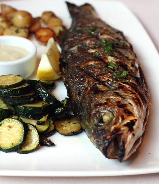 Grilled branzino served whole or in fillet at Donato Enoteca. Do ask for it whole, though.