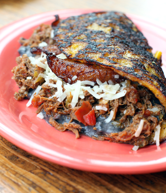 The shredded beef-black bean-sweet plaintain cachapa is a big seller for good reasons.