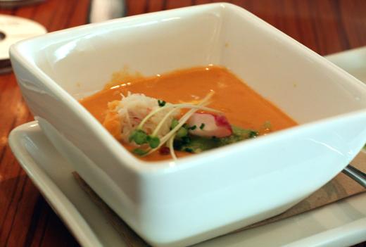 Creamy, cold crab gazpacho...