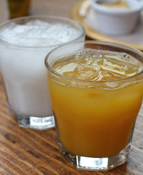 Passion fruit juice (foreground) and the incredible Coconut Lemonade (background).