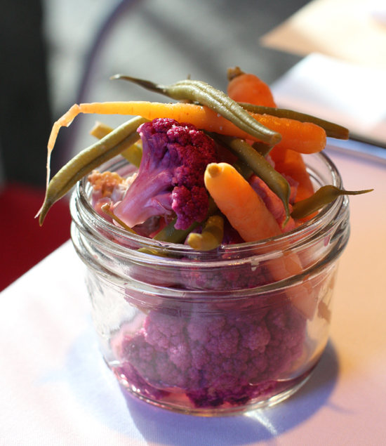 Jars of pickled veggies decorate the table at the cookbook party at Town Hall.