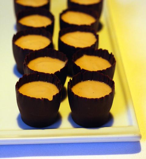 Butterscotch and chocolate pots de creme.