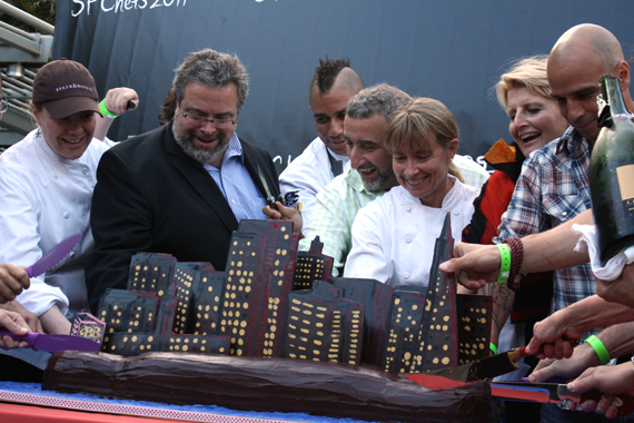 A bevy of chefs cut a chocolate cake depicting San Francisco's skyline to signal the start of SF Chefs Food Wine. How many chefs can you name?