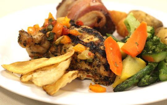 """Grilled """"airline'' chicken with heirloom tomato relish."""