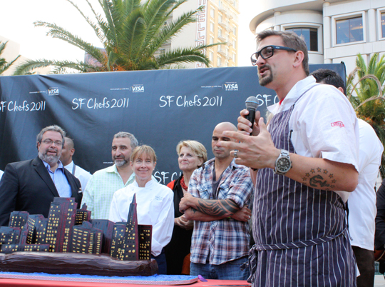 Chef Chris Cosentino of Incanto addresses the crowd.