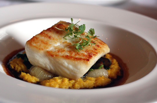 Wild, sustainable Alaskan halibut with corn polenta. (Photo by Carolyn Jung)