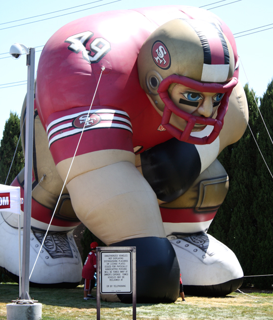 This big guy marks the spot for the 49ers training camp facility.
