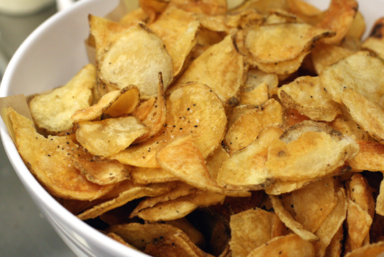 House-made salt and pepper potato chips.
