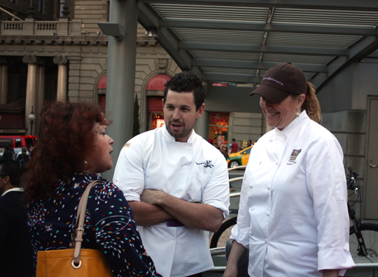 """Marcia Gagliardi of Tablehopper talks with Chef Ryan Scott of """"Top Chef'' fame and Lori Baker of Baker & Banker."""