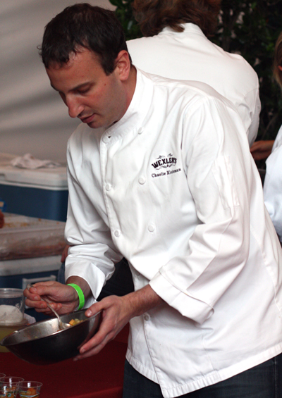 Chef Charlie Kleinman of Wexler's puts the finishing touches on his dish