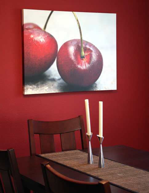 My dining room, all spiffed up with a canvas made from one of my photos.