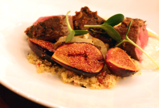 Lamb with Mission figs, yogurt and olives to capture the globalness of American cuisine in the 2000's.