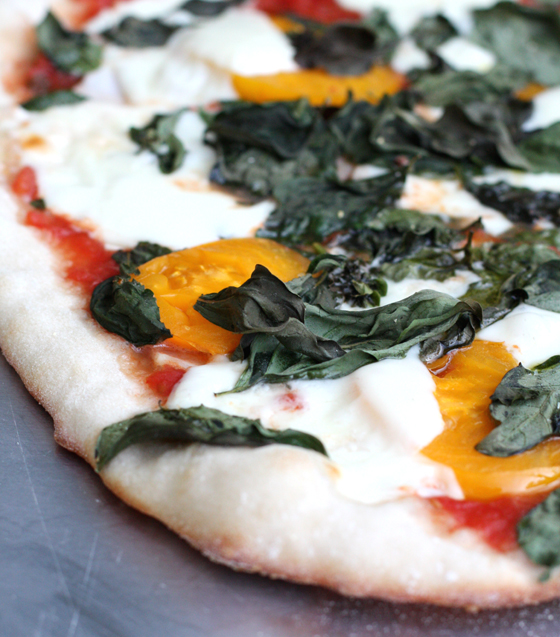 Tomato sauce, homegrown tomatoes, homegrown basil and mozzarella top this pizza we made.