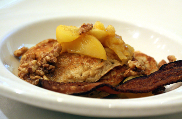 Wake up to fluffy oatmeal pancakes with apples at the Farmhouse Inn.