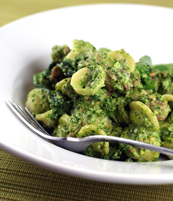 Pesto gets a makeover with broccoli rabe instead of the usual basil.