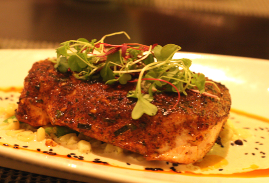 Opah from that morning's auction turned into a dazzling entree at Azure restaurant.